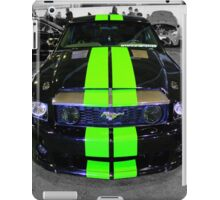 Black Mustang with Green Stripes iPad Case/Skin