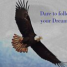 Soaring Bald Eagle Inspirational Quote by Val  Brackenridge