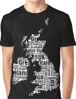 Typographic British Isles - Black and White Graphic T-Shirt