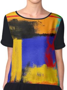 Blue and Yellow Abstract Chiffon Top