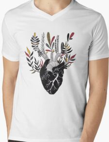 Floral Heart Mens V-Neck T-Shirt