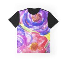 Pink and Purple Watercolor Florals Graphic T-Shirt