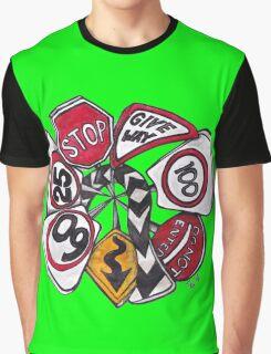 Traffic Signs Mandala Graphic T-Shirt
