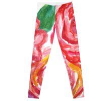 Pink watercolor peonies Leggings