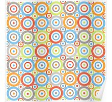 Abstract Circles Repeat Pattern Color Mix & Greys Poster