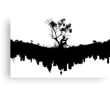Urban Faun - Black on White Canvas Print