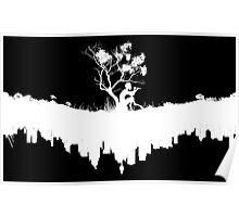 Urban Faun - White on Black Poster