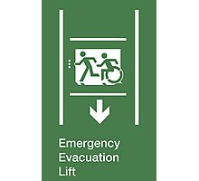 Emergency Evacuation Lift Sign, Left Hand Down Arrow, with the Accessible Means of Egress Icon and Running Man, part of the Accessible Exit Sign Project Photographic Print