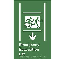 Emergency Evacuation Lift Sign, Right Hand Down Arrow, with the Accessible Means of Egress Icon and Running Man, part of the Accessible Exit Sign Project Photographic Print