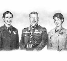 Five marines, five siblings drawing by Mike Theuer