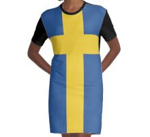 Swedish Flag (Vanilla Version) Graphic T-Shirt Dress