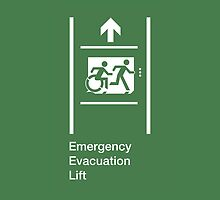 Emergency Evacuation Lift Sign, Right Hand Up Arrow, with the Accessible Means of Egress Icon and Running Man, part of the Accessible Exit Sign Project by Egress Group Pty Ltd