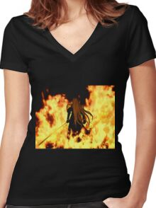 Final Fantasy VII Sephiroth Flames Women's Fitted V-Neck T-Shirt
