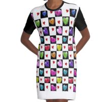 Painted Hearts Graphic T-Shirt Dress