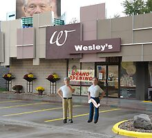 Look, Wes... I just don't think 'We have a sterling reputation' is a great slogan for your new store! by Susan Littlefield