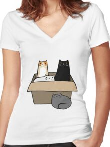Cats in a Box Women's Fitted V-Neck T-Shirt