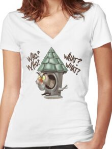 Archimedes Who Who What What? Women's Fitted V-Neck T-Shirt