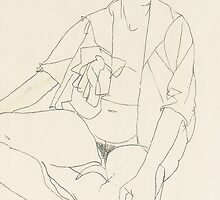 Seated female nude with open blouse by Bridgeman Art Library