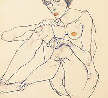 Seated female nude by Bridgeman Art Library