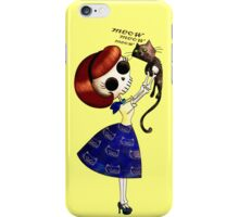Lovely Skeleton Pin Up Girl with her cute cat iPhone Case/Skin
