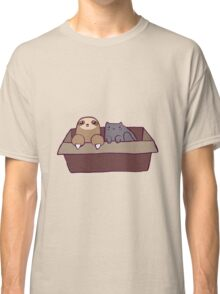 Sloth and Cat in a Box Classic T-Shirt