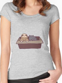 Sloth and Cat in a Box Women's Fitted Scoop T-Shirt