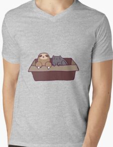 Sloth and Cat in a Box Mens V-Neck T-Shirt