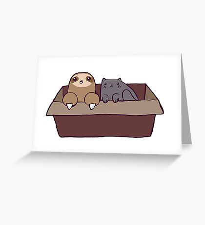 Sloth and Cat in a Box Greeting Card