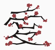 Chinese 'Ai' Love Red Sakura Cherry Blossoms With Black Branches Kids Tee