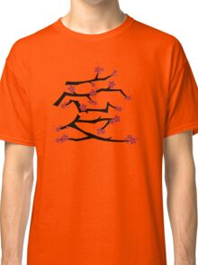 Chinese 'Ai' Love Red Sakura Cherry Blossoms With Black Branches Classic T-Shirt