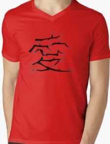 Chinese 'Ai' Love Red Sakura Cherry Blossoms With Black Branches Mens V-Neck T-Shirt