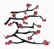 Chinese 'Ai' Love Red Sakura Cherry Blossoms With White Branches Kids Tee