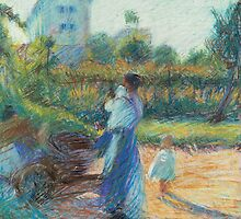 Woman in the Garden by Bridgeman Art Library