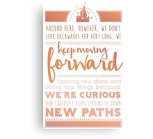 Rose Gold Keep Moving Forward Inspirational Quote from Walt Disney Canvas Print