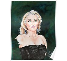 Gillian Anderson watercolor Portrait Poster