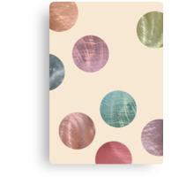 Decorative Multicolored Metallic Dots on Cream Canvas Print