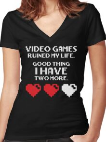 Video Games Ruined My Life Women's Fitted V-Neck T-Shirt