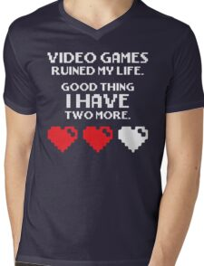 Video Games Ruined My Life Mens V-Neck T-Shirt