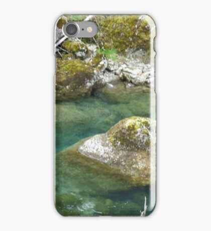 Mountain stream and moss-covered rocks iPhone Case/Skin