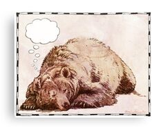 Blank Thought Bubble Bear Canvas Print