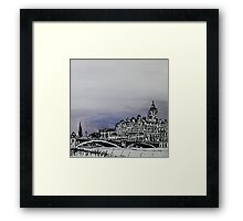 Drawing of Edinburgh with Chinese Ink and Watercolor Framed Print