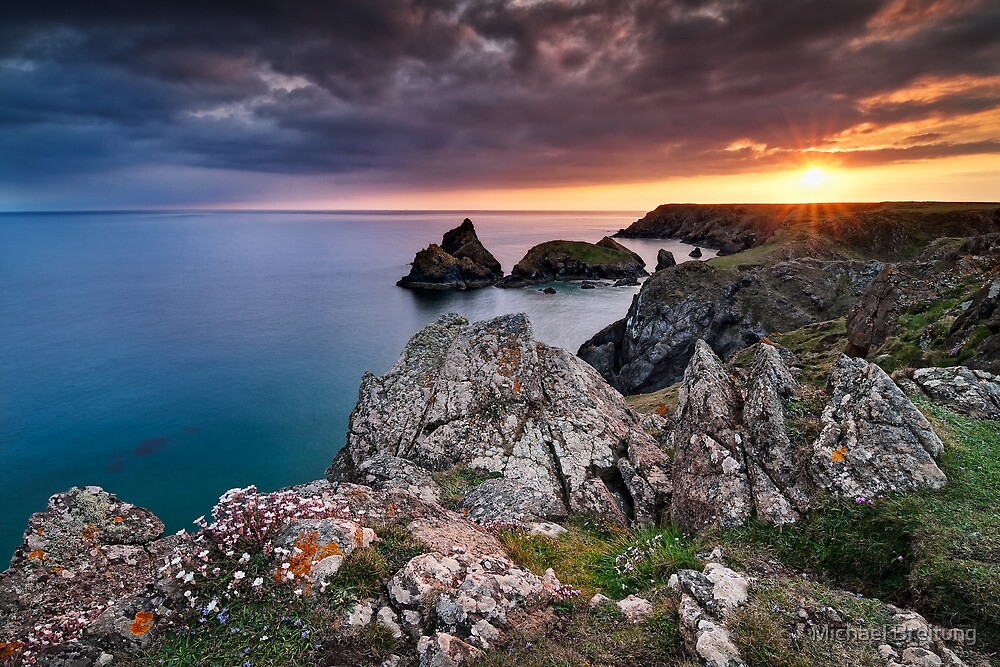 Cornwall - Kynance Sunset by Michael Breitung