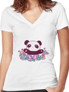 Cute Flowery Panda Women's Fitted V-Neck T-Shirt