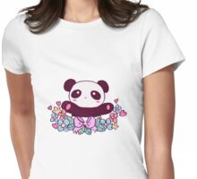 Cute Flowery Panda Womens Fitted T-Shirt