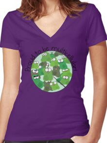 Proud to be Multicellular Women's Fitted V-Neck T-Shirt