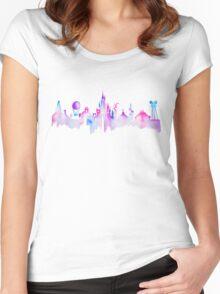 Paris Magic Theme Park Watercolor Skyline Silhouette Women's Fitted Scoop T-Shirt