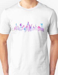 Paris Magic Theme Park Watercolor Skyline Silhouette Unisex T-Shirt