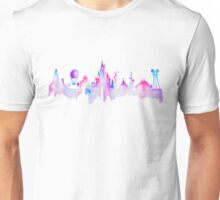 Paris Magic Theme Park Watercolor Skyline Silhouette Unisex T-Shirt