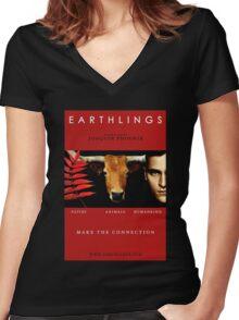 """Earthlings"" Movie Cover Women's Fitted V-Neck T-Shirt"