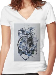 Back to the Future - Original mixed media Abstract painting Women's Fitted V-Neck T-Shirt